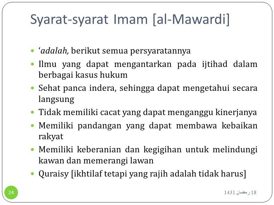 Syarat-syarat Imam [al-Mawardi]